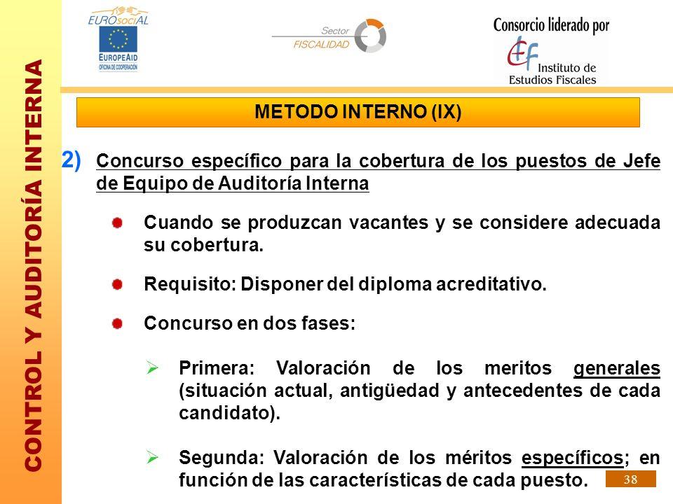 CONTROL Y AUDITORÍA INTERNA 38 METODO INTERNO (IX) 2) Concurso específico para la cobertura de los puestos de Jefe de Equipo de Auditoría Interna Cuan