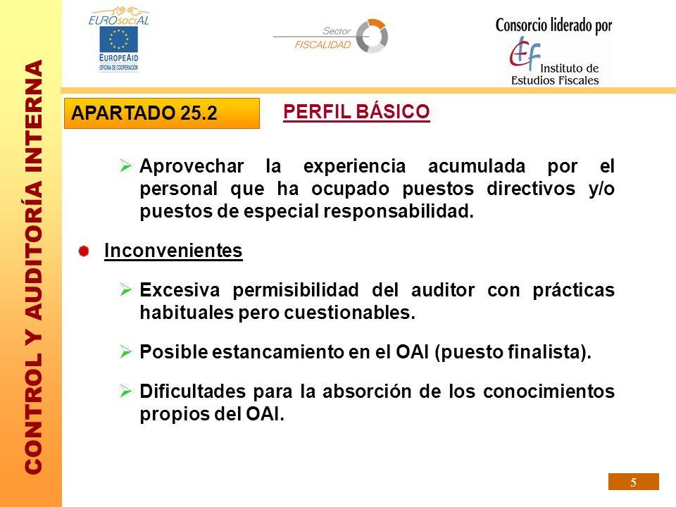 CONTROL Y AUDITORÍA INTERNA 5 Aprovechar la experiencia acumulada por el personal que ha ocupado puestos directivos y/o puestos de especial responsabi