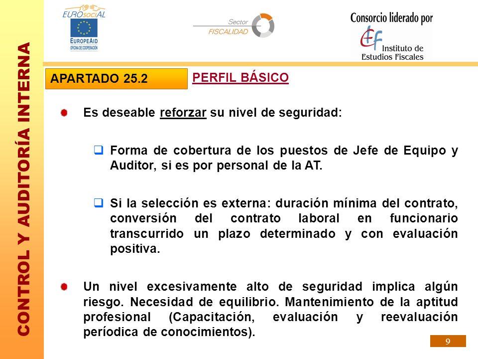 CONTROL Y AUDITORÍA INTERNA 9 Es deseable reforzar su nivel de seguridad: Forma de cobertura de los puestos de Jefe de Equipo y Auditor, si es por per