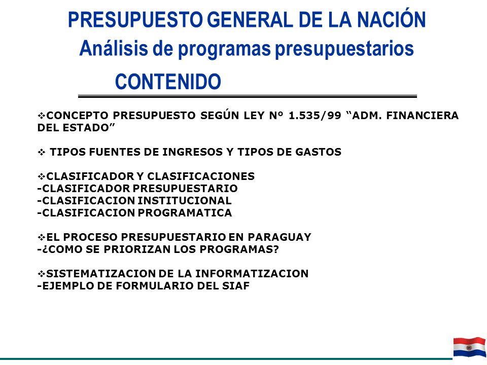 PRESUPUESTO GENERAL DE LA NACIÓN Análisis de programas presupuestarios CONCEPTO PRESUPUESTO SEGÚN LEY Nº 1.535/99 ADM. FINANCIERA DEL ESTADO TIPOS FUE