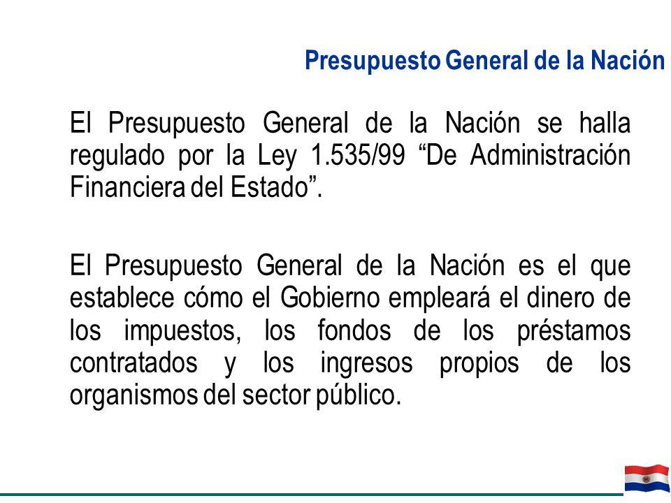 El Presupuesto General de la Nación se halla regulado por la Ley 1.535/99 De Administración Financiera del Estado. El Presupuesto General de la Nación
