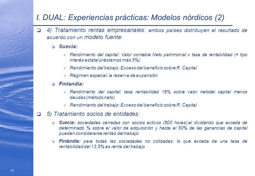 11 I. DUAL: Experiencias prácticas: Modelos nórdicos (2) 4) Tratamiento rentas empresariales: ambos países distribuyen el resultado de acuerdo con un