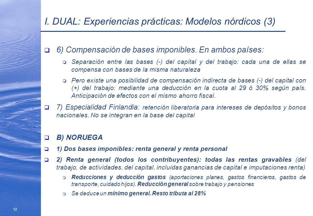 12 I. DUAL: Experiencias prácticas: Modelos nórdicos (3) 6) Compensación de bases imponibles. En ambos países: m Separación entre las bases (-) del ca