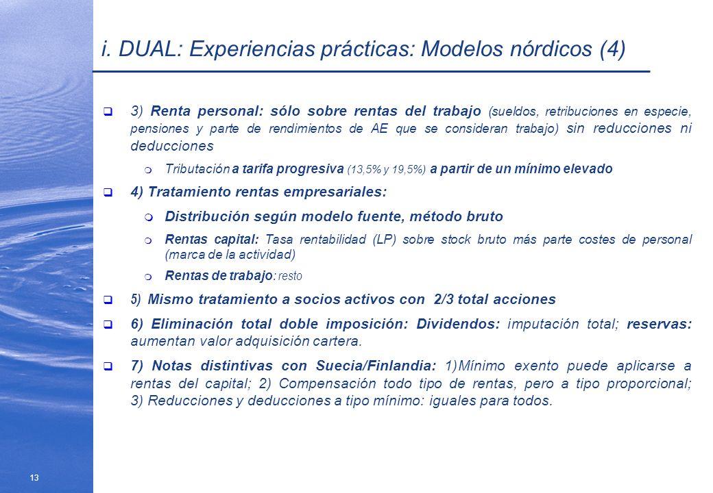 13 i. DUAL: Experiencias prácticas: Modelos nórdicos (4) 3) Renta personal: sólo sobre rentas del trabajo (sueldos, retribuciones en especie, pensione