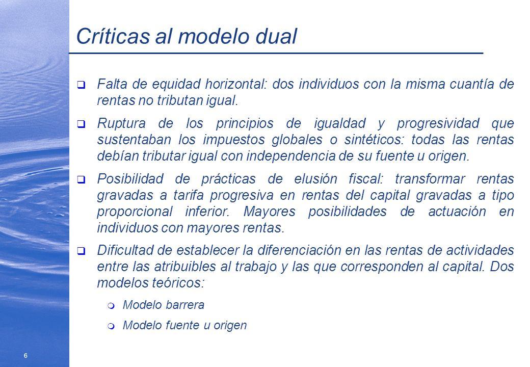 6 Críticas al modelo dual Falta de equidad horizontal: dos individuos con la misma cuantía de rentas no tributan igual. Ruptura de los principios de i