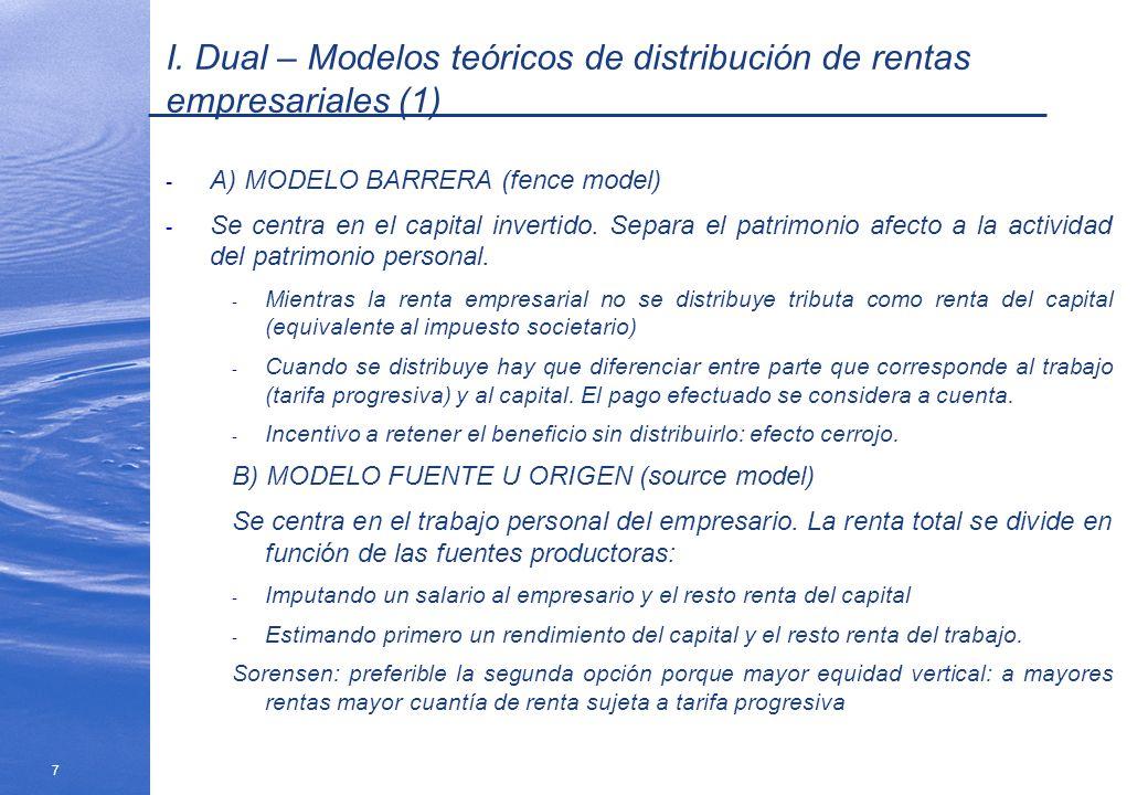 7 I. Dual – Modelos teóricos de distribución de rentas empresariales (1) - A) MODELO BARRERA (fence model) - Se centra en el capital invertido. Separa
