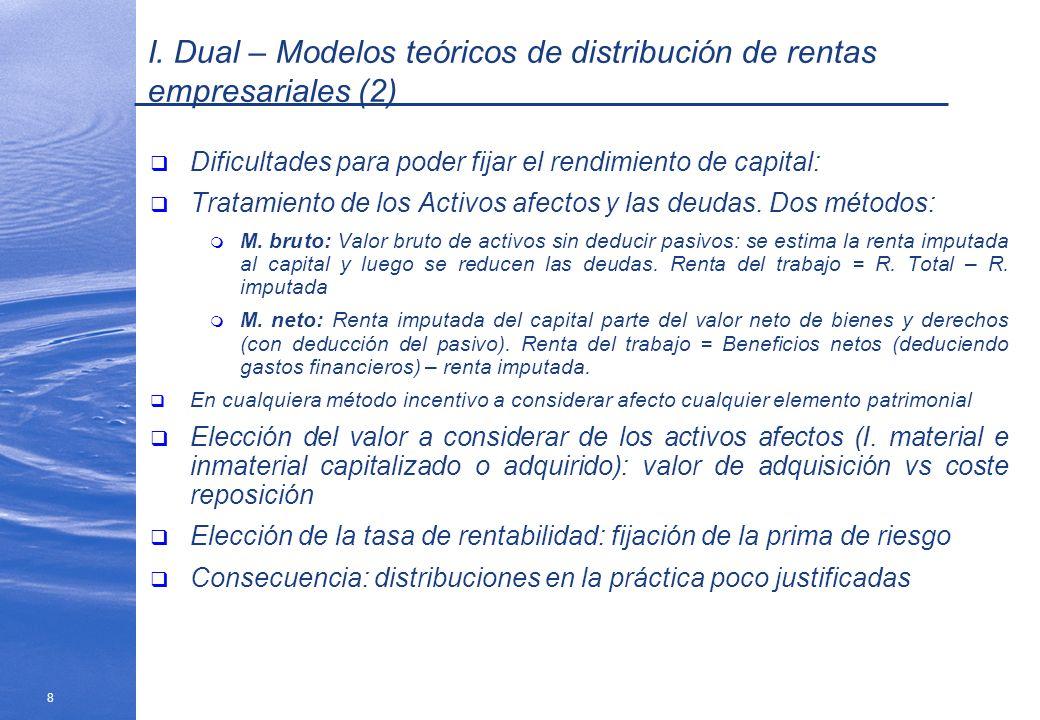 8 I. Dual – Modelos teóricos de distribución de rentas empresariales (2) Dificultades para poder fijar el rendimiento de capital: Tratamiento de los A