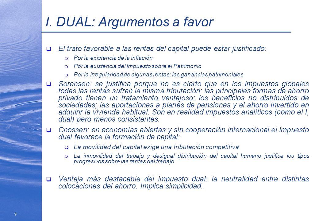 9 I. DUAL: Argumentos a favor El trato favorable a las rentas del capital puede estar justificado: m Por la existencia de la inflación m Por la existe