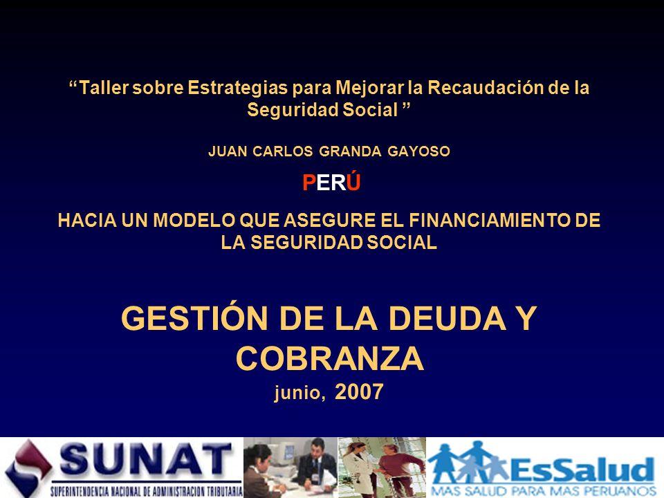 Taller sobre Estrategias para Mejorar la Recaudación de la Seguridad Social JUAN CARLOS GRANDA GAYOSO HACIA UN MODELO QUE ASEGURE EL FINANCIAMIENTO DE
