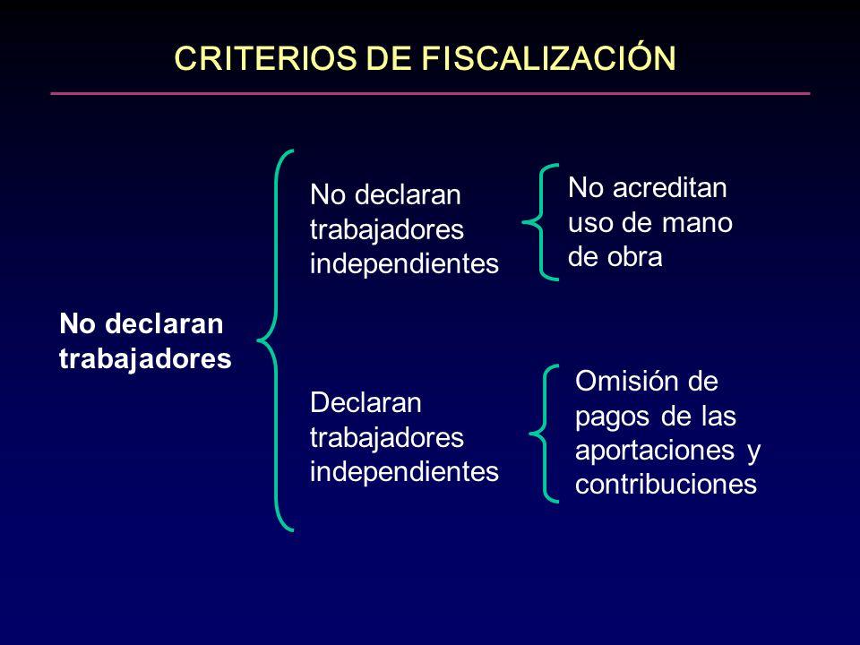 CRITERIOS DE FISCALIZACIÓN No declaran trabajadores No declaran trabajadores independientes Declaran trabajadores independientes No acreditan uso de m