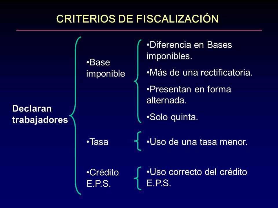 CRITERIOS DE FISCALIZACIÓN Declaran trabajadores Base imponible Tasa Diferencia en Bases imponibles. Más de una rectificatoria. Presentan en forma alt