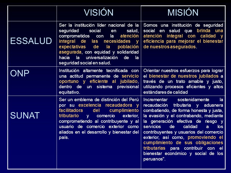 VISIÓNMISIÓN ESSALUD Ser la institución líder nacional de la seguridad social en salud, comprometidos con la atención integral de las necesidades y ex