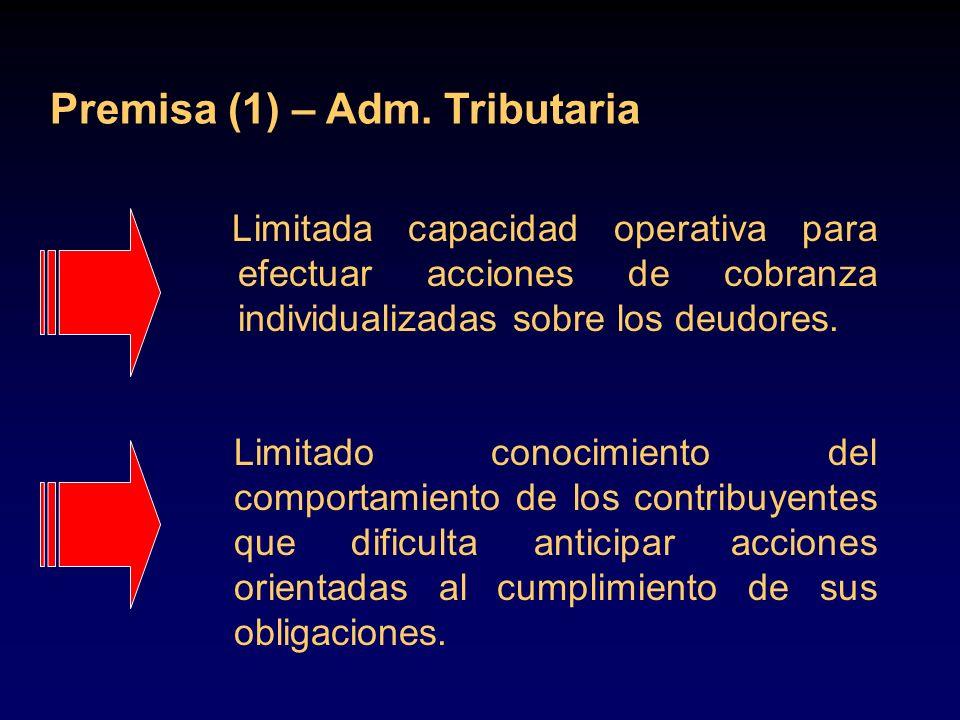 Limitada capacidad operativa para efectuar acciones de cobranza individualizadas sobre los deudores. Premisa (1) – Adm. Tributaria Limitado conocimien