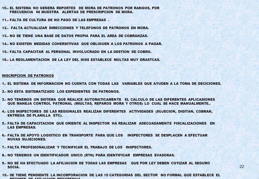 22 10.- EL SISTEMA NO GENERA REPORTES DE MORA DE PATRONOS POR RANGOS, POR FRECUENCIA NI MUESTRA ALERTAS DE PRESCRIPCION DE MORA. 11.- FALTA DE CULTURA