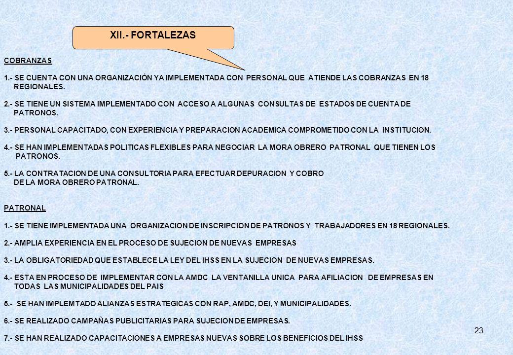 23 COBRANZAS 1.- SE CUENTA CON UNA ORGANIZACIÓN YA IMPLEMENTADA CON PERSONAL QUE ATIENDE LAS COBRANZAS EN 18 REGIONALES. 2.- SE TIENE UN SISTEMA IMPLE