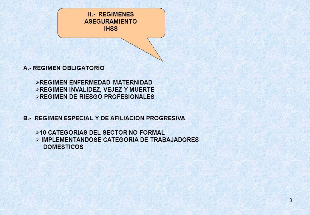 33 A.- REGIMEN OBLIGATORIO REGIMEN ENFERMEDAD MATERNIDAD REGIMEN INVALIDEZ, VEJEZ Y MUERTE REGIMEN DE RIESGO PROFESIONALES B.- REGIMEN ESPECIAL Y DE A