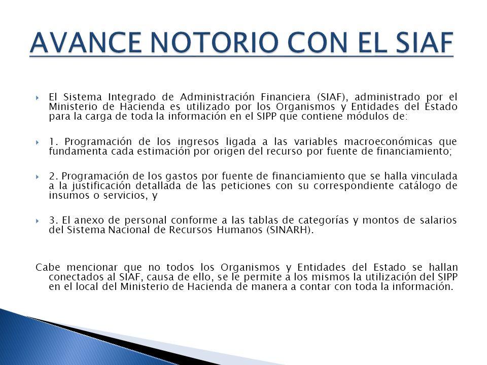 El Sistema Integrado de Administración Financiera (SIAF), administrado por el Ministerio de Hacienda es utilizado por los Organismos y Entidades del E