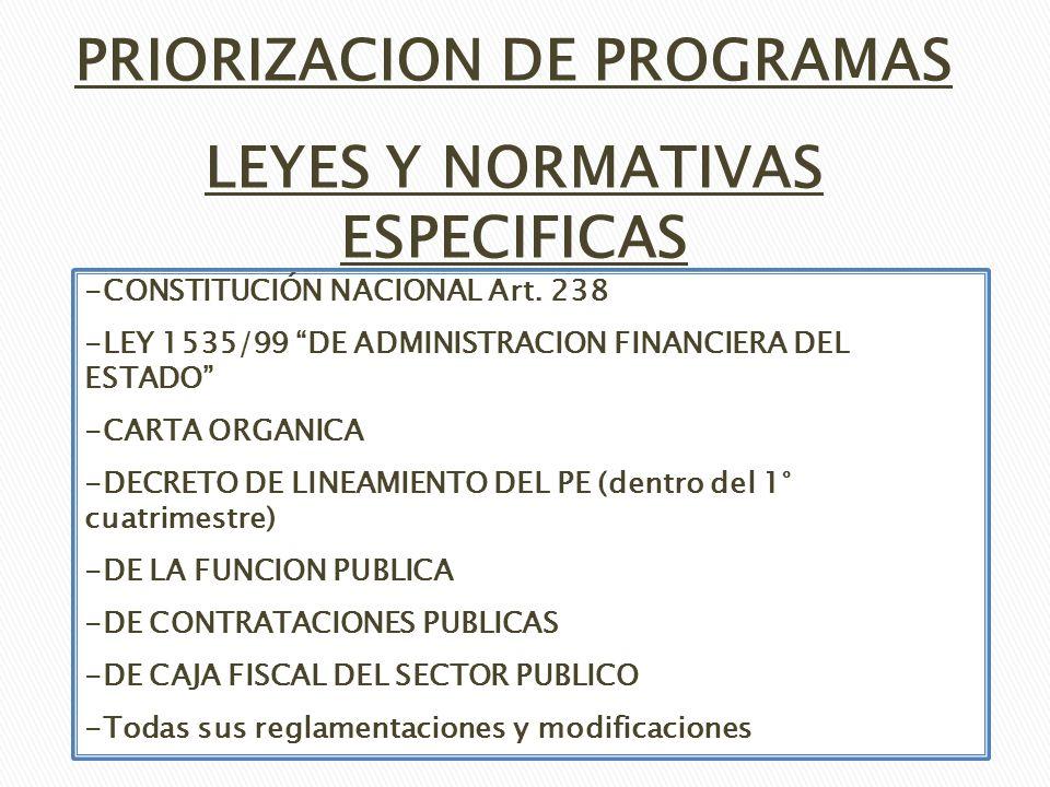 LEYES Y NORMATIVAS ESPECIFICAS PRIORIZACION DE PROGRAMAS -CONSTITUCIÓN NACIONAL Art. 238 -LEY 1535/99 DE ADMINISTRACION FINANCIERA DEL ESTADO -CARTA O