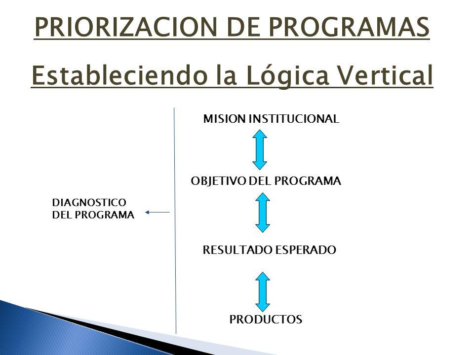 Estableciendo la Lógica Vertical MISION INSTITUCIONAL OBJETIVO DEL PROGRAMA RESULTADO ESPERADO PRODUCTOS DIAGNOSTICO DEL PROGRAMA PRIORIZACION DE PROG