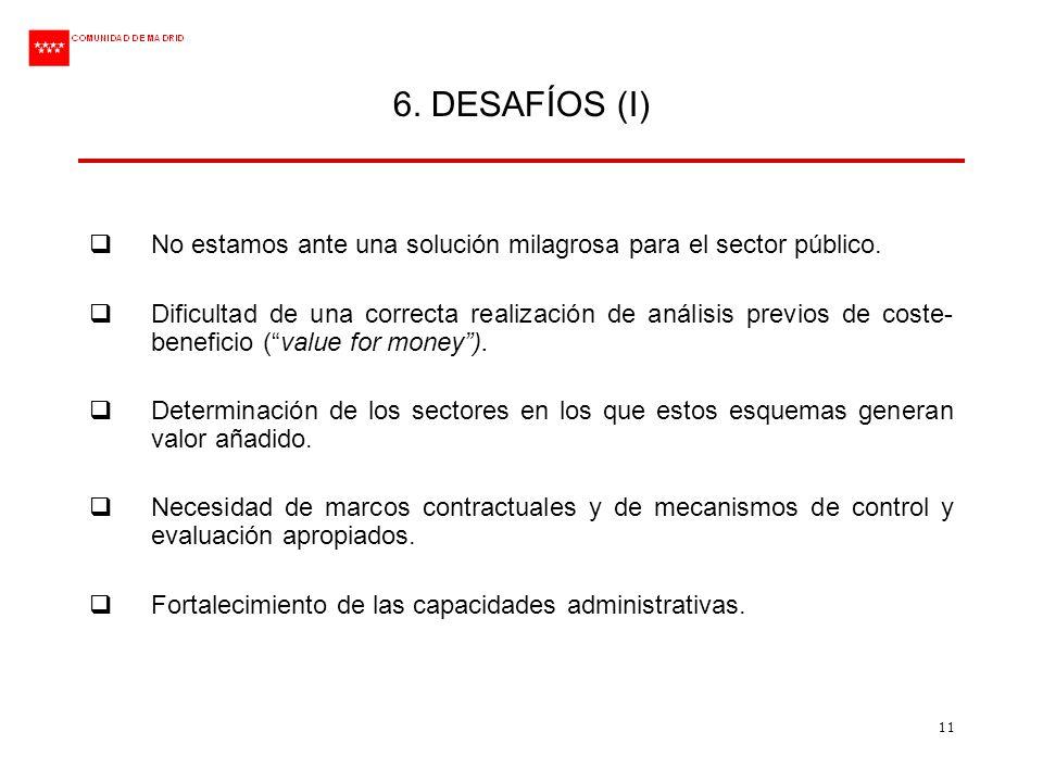 11 6. DESAFÍOS (I) No estamos ante una solución milagrosa para el sector público. Dificultad de una correcta realización de análisis previos de coste-