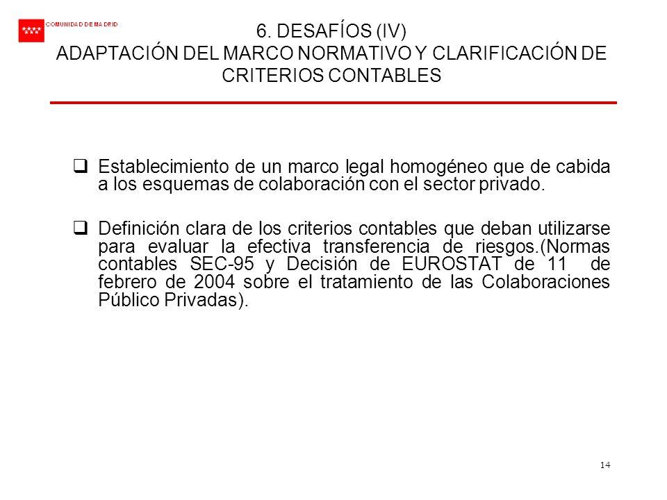 14 6. DESAFÍOS (IV) ADAPTACIÓN DEL MARCO NORMATIVO Y CLARIFICACIÓN DE CRITERIOS CONTABLES Establecimiento de un marco legal homogéneo que de cabida a