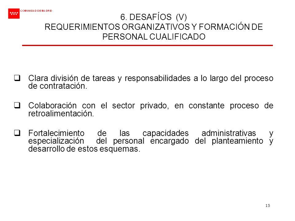 15 6. DESAFÍOS (V) REQUERIMIENTOS ORGANIZATIVOS Y FORMACIÓN DE PERSONAL CUALIFICADO Clara división de tareas y responsabilidades a lo largo del proces