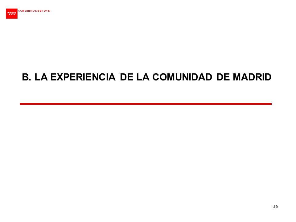 16 B. LA EXPERIENCIA DE LA COMUNIDAD DE MADRID