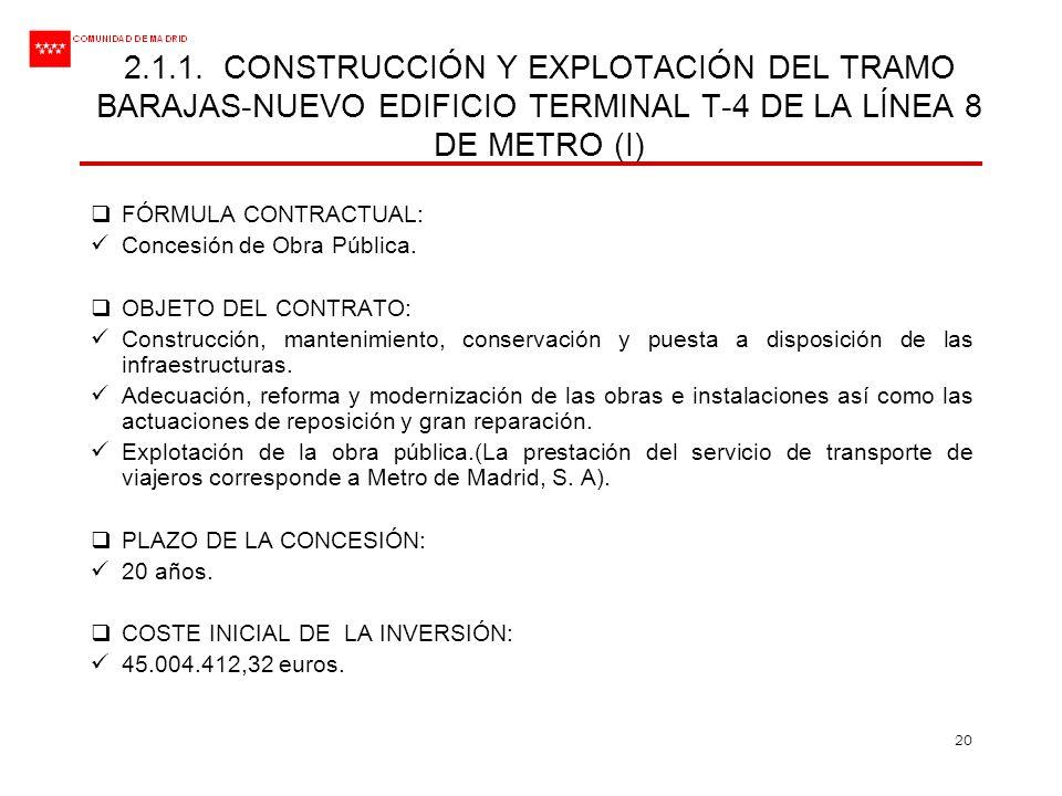 20 FÓRMULA CONTRACTUAL: Concesión de Obra Pública. OBJETO DEL CONTRATO: Construcción, mantenimiento, conservación y puesta a disposición de las infrae
