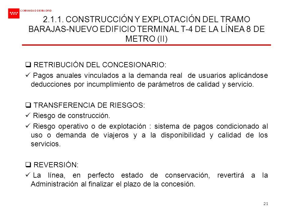 21 2.1.1. CONSTRUCCIÓN Y EXPLOTACIÓN DEL TRAMO BARAJAS-NUEVO EDIFICIO TERMINAL T-4 DE LA LÍNEA 8 DE METRO (II) RETRIBUCIÓN DEL CONCESIONARIO: Pagos an