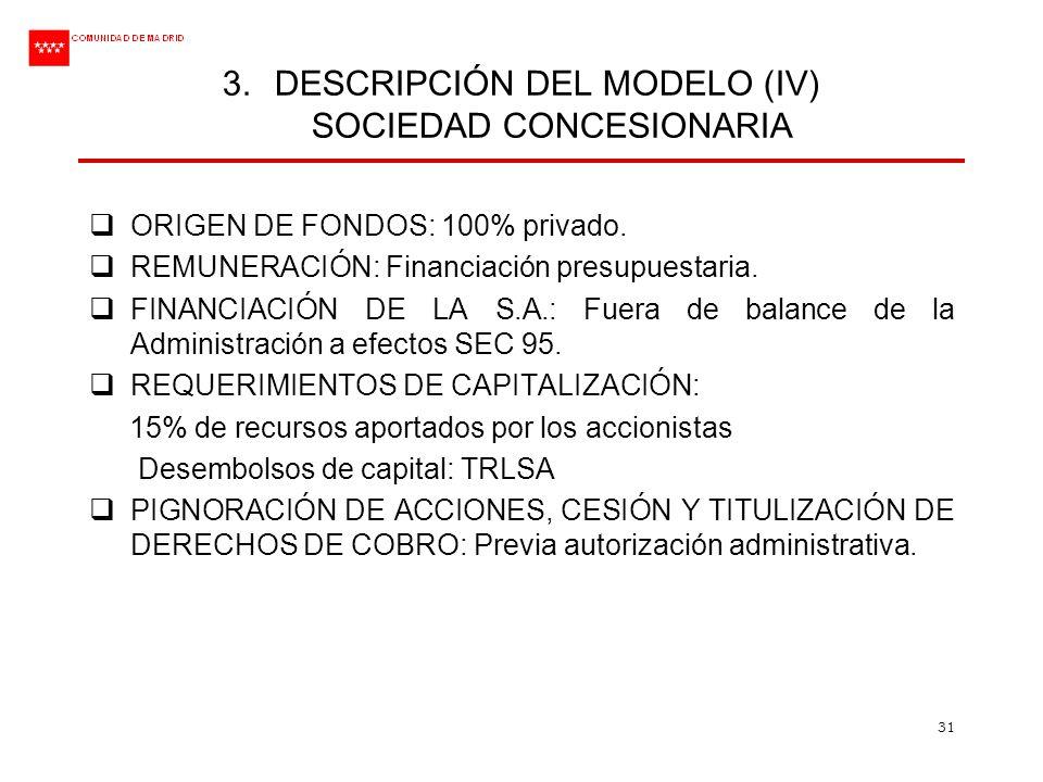31 3.DESCRIPCIÓN DEL MODELO (IV) SOCIEDAD CONCESIONARIA ORIGEN DE FONDOS: 100% privado. REMUNERACIÓN: Financiación presupuestaria. FINANCIACIÓN DE LA