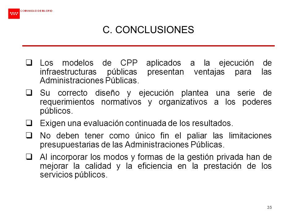 35 C. CONCLUSIONES Los modelos de CPP aplicados a la ejecución de infraestructuras públicas presentan ventajas para las Administraciones Públicas. Su