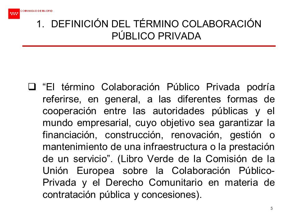 5 1.DEFINICIÓN DEL TÉRMINO COLABORACIÓN PÚBLICO PRIVADA El término Colaboración Público Privada podría referirse, en general, a las diferentes formas