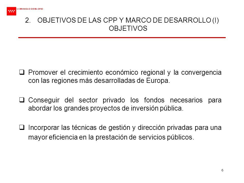 6 2.OBJETIVOS DE LAS CPP Y MARCO DE DESARROLLO (I) OBJETIVOS Promover el crecimiento económico regional y la convergencia con las regiones más desarro
