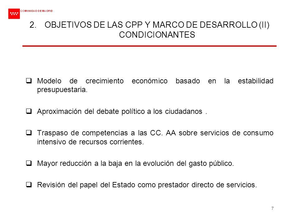 7 2.OBJETIVOS DE LAS CPP Y MARCO DE DESARROLLO (II) CONDICIONANTES Modelo de crecimiento económico basado en la estabilidad presupuestaria. Aproximaci