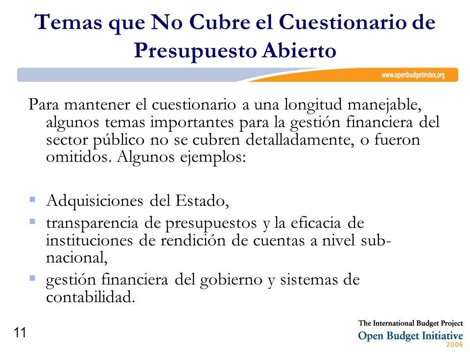 11 Temas que No Cubre el Cuestionario de Presupuesto Abierto Para mantener el cuestionario a una longitud manejable, algunos temas importantes para la
