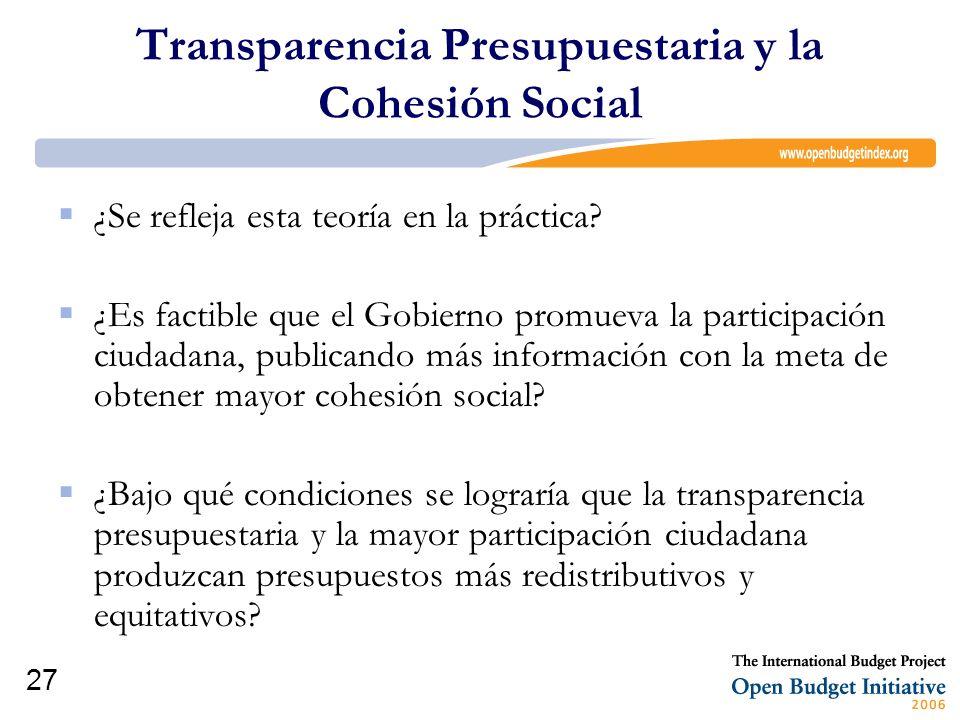 27 Transparencia Presupuestaria y la Cohesión Social ¿Se refleja esta teoría en la práctica? ¿Es factible que el Gobierno promueva la participación ci