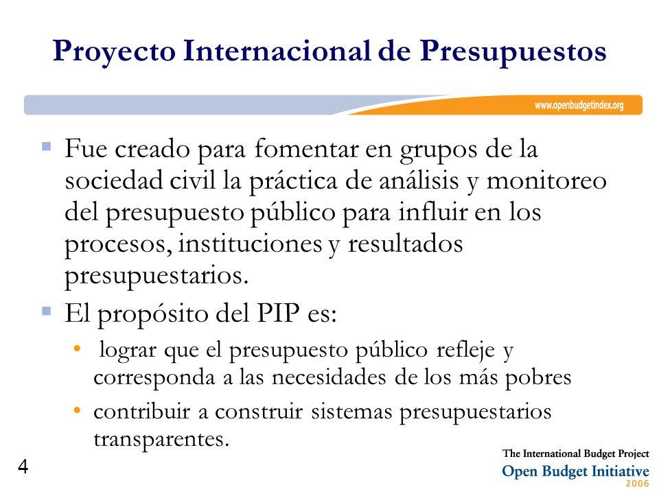 4 Fue creado para fomentar en grupos de la sociedad civil la práctica de análisis y monitoreo del presupuesto público para influir en los procesos, in