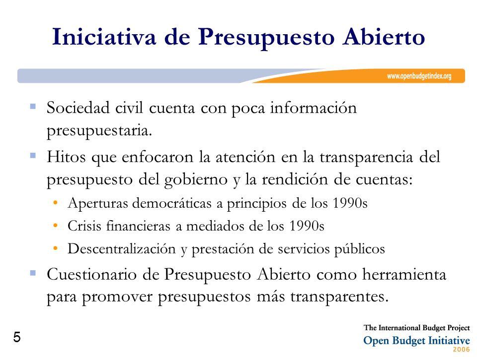 6 Instrumento: Cuestionario de Presupuesto Abierto El IBP conjuntamente con sus socios comenzaron a desarrollar y probar el cuestionario en el 2002 El cuestionario contiene 122 preguntas en total.