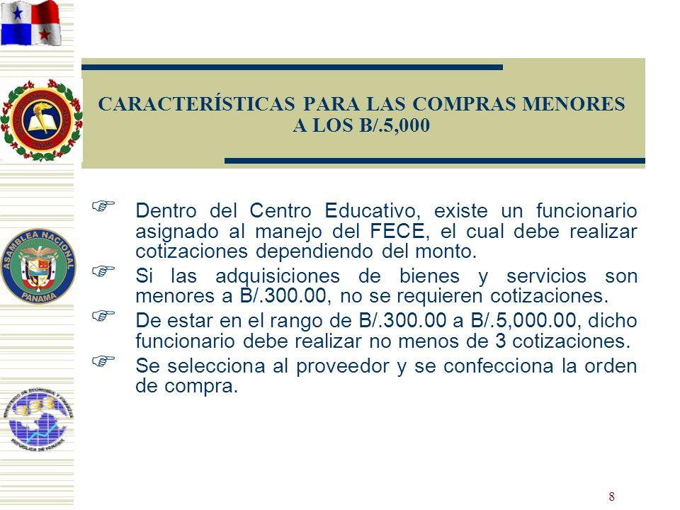 8 CARACTERÍSTICAS PARA LAS COMPRAS MENORES A LOS B/.5,000 Dentro del Centro Educativo, existe un funcionario asignado al manejo del FECE, el cual debe