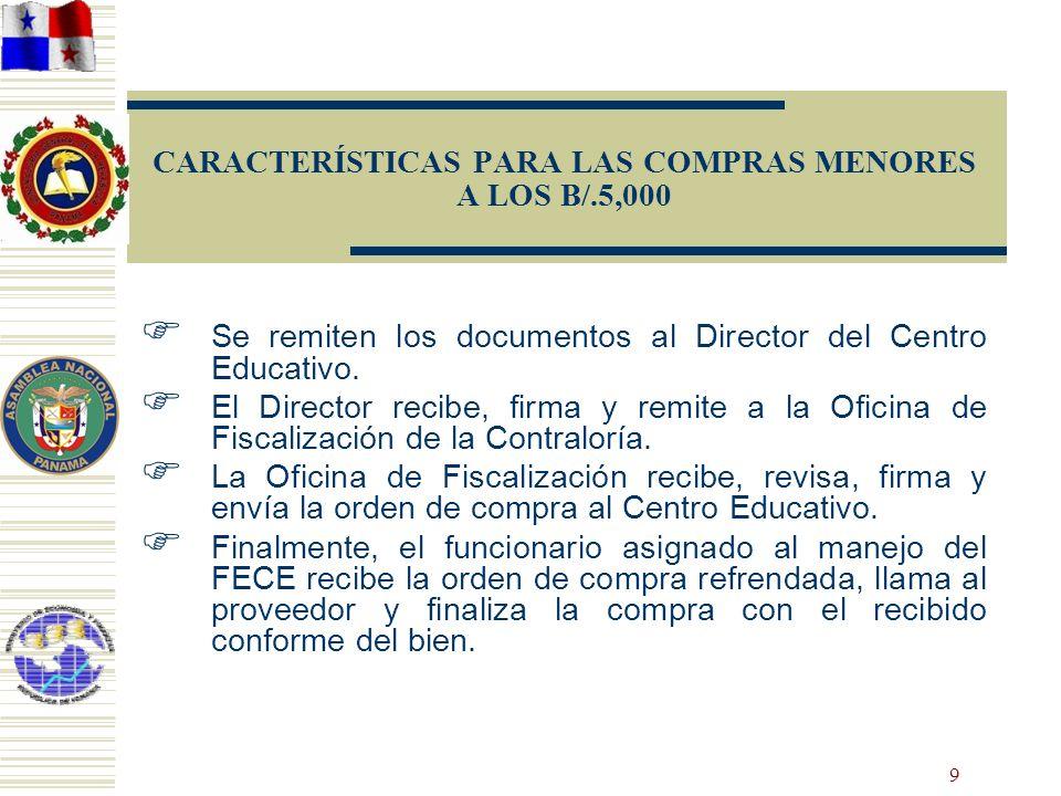 9 CARACTERÍSTICAS PARA LAS COMPRAS MENORES A LOS B/.5,000 Se remiten los documentos al Director del Centro Educativo. El Director recibe, firma y remi