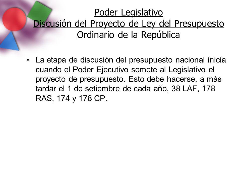 Poder Legislativo Discusión del Proyecto de Ley del Presupuesto Ordinario de la República La etapa de discusión del presupuesto nacional inicia cuando