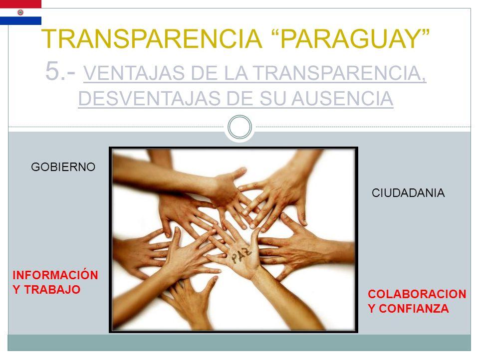 TRANSPARENCIA PARAGUAY 5.- VENTAJAS DE LA TRANSPARENCIA, DESVENTAJAS DE SU AUSENCIA GOBIERNO CIUDADANIA INFORMACIÓN Y TRABAJO COLABORACION Y CONFIANZA