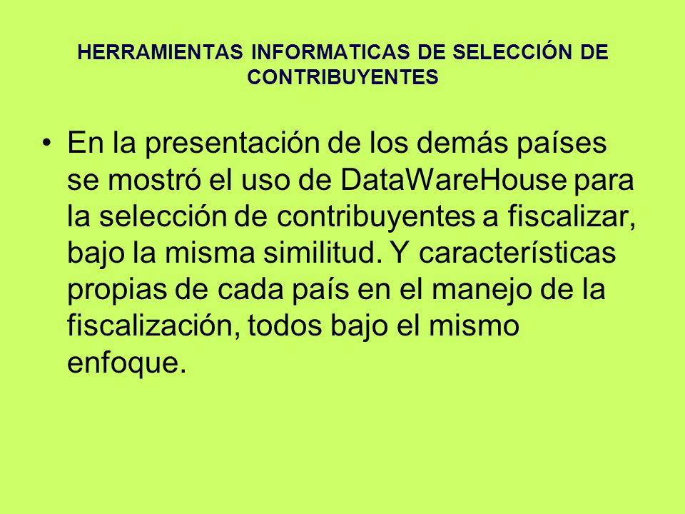 HERRAMIENTAS INFORMATICAS DE SELECCIÓN DE CONTRIBUYENTES En la presentación de los demás países se mostró el uso de DataWareHouse para la selección de