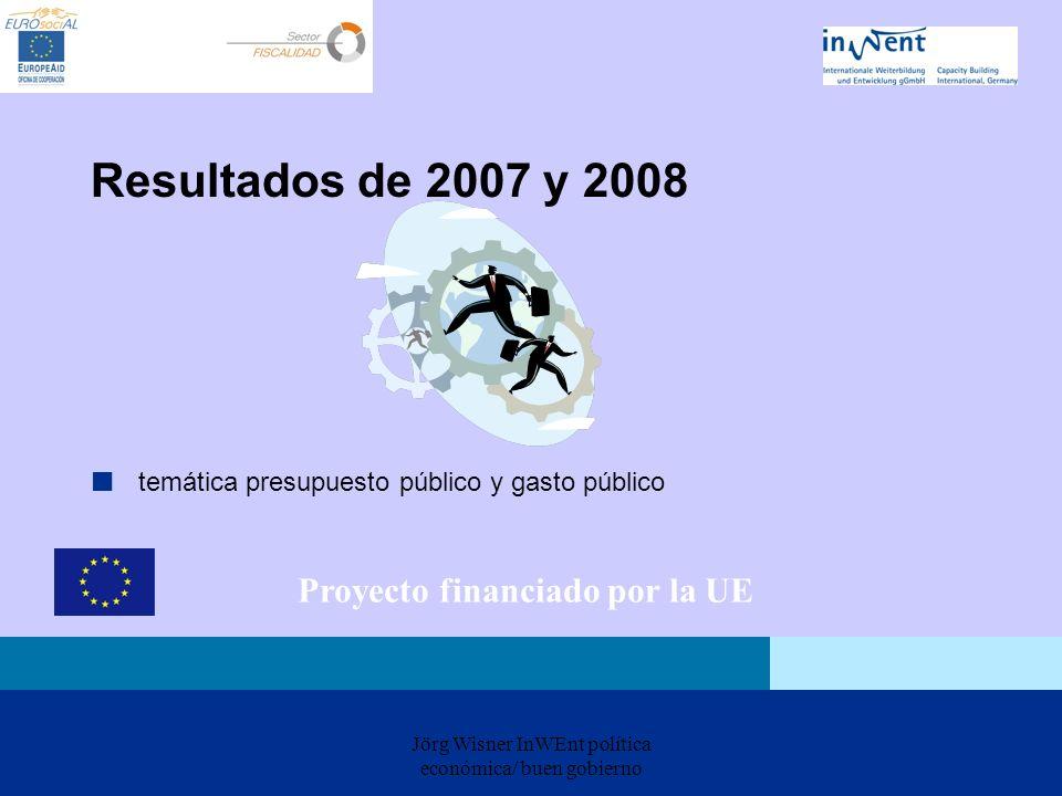 Jörg Wisner InWEnt política económica/ buen gobierno Resultados de 2007 y 2008 temática presupuesto público y gasto público Proyecto financiado por la