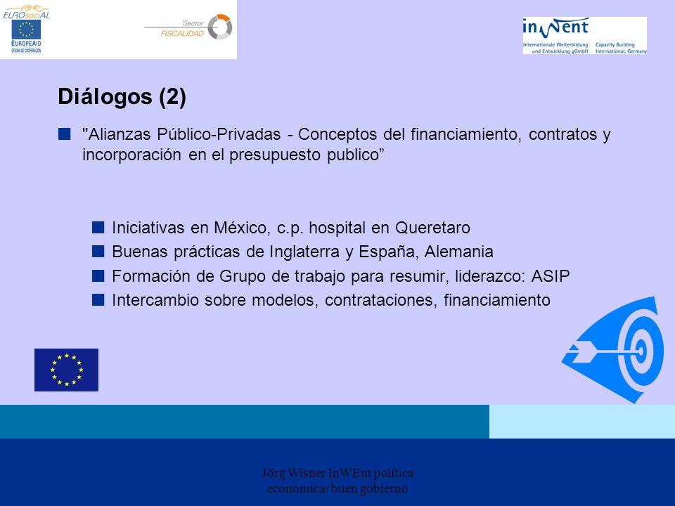 Jörg Wisner InWEnt política económica/ buen gobierno Diálogos (2) Alianzas Público-Privadas - Conceptos del financiamiento, contratos y incorporación en el presupuesto publico Iniciativas en México, c.p.