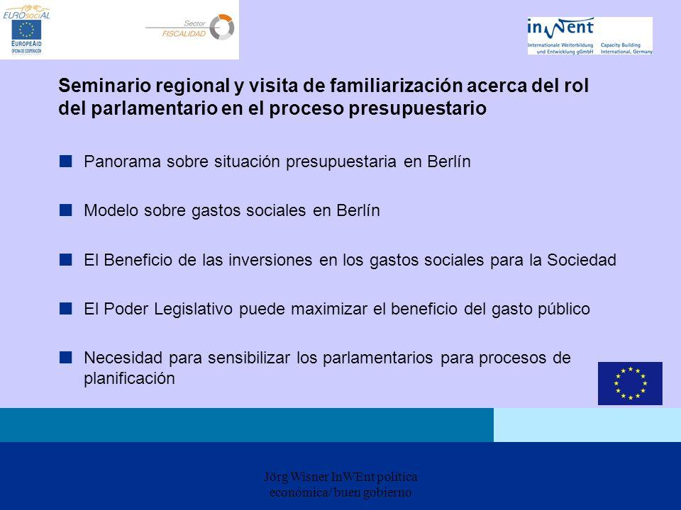 Jörg Wisner InWEnt política económica/ buen gobierno Seminario regional y visita de familiarización acerca del rol del parlamentario en el proceso pre