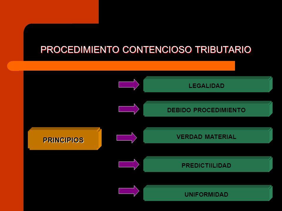 PROCEDIMIENTO CONTENCIOSO TRIBUTARIO PRINCIPIOS LEGALIDAD DEBIDO PROCEDIMIENTO PREDICTIILIDAD VERDAD MATERIAL UNIFORMIDAD