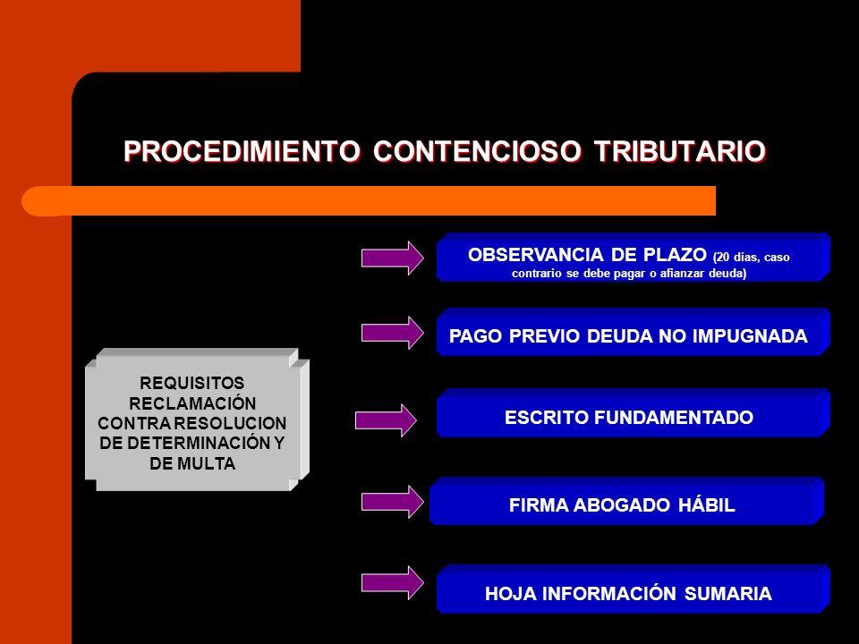 PROCEDIMIENTO CONTENCIOSO TRIBUTARIO REQUISITOS RECLAMACIÓN CONTRA ORDEN DE PAGO (*) PAGO PREVIO DEUDA Si improcedencia es manifiesta no se exige pago FIRMA ABOGADO HÁBIL ESCRITO FUNDAMENTADO HOJA INFORMACIÓN SUMARIA (*) La orden de pago constituye un requerimiento de pago de una obligación cierta, no es un acto de determinación