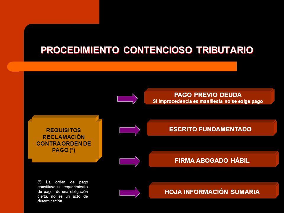 PROCEDIMIENTO CONTENCIOSO TRIBUTARIO REQUISITOS RECLAMACIÓN CONTRA ORDEN DE PAGO (*) PAGO PREVIO DEUDA Si improcedencia es manifiesta no se exige pago