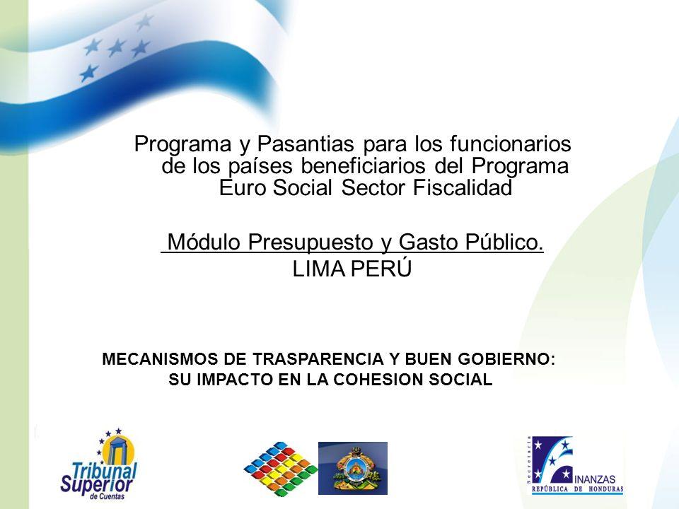 Programa y Pasantias para los funcionarios de los países beneficiarios del Programa Euro Social Sector Fiscalidad Módulo Presupuesto y Gasto Público.